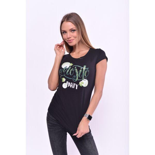 Mojito Party nyomott mintás fekete póló