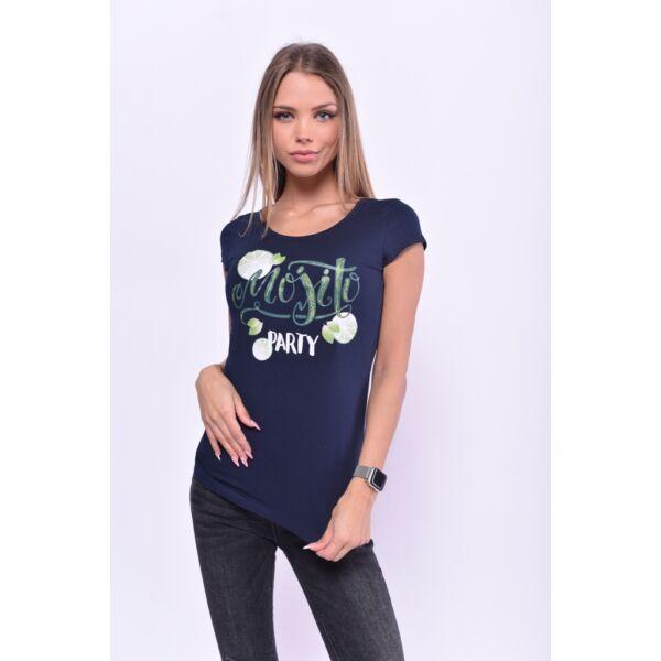 Mojito Party nyomott mintás sötét kék póló