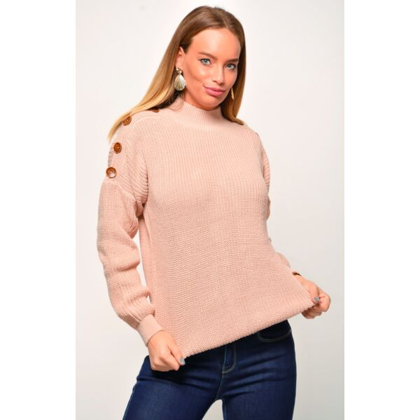 Púder színű kötött pulóver díszgombokkal