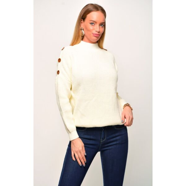 Törtfehér kötött pulóver díszgombokkal