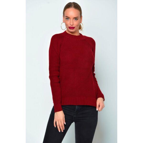 Bordó kötött pulóver