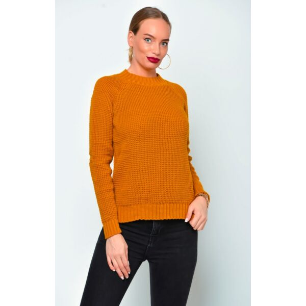 Mustár sárga kötött pulóver
