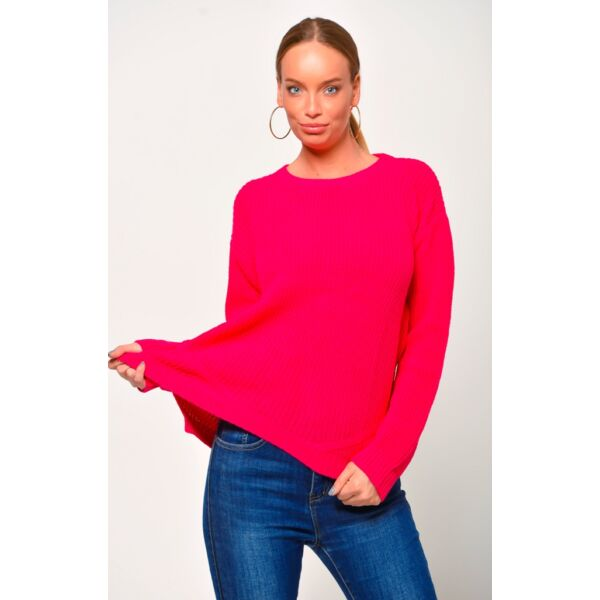 Környakú pink pulóver