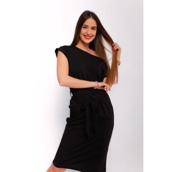 Zsebes fekete midi ruha