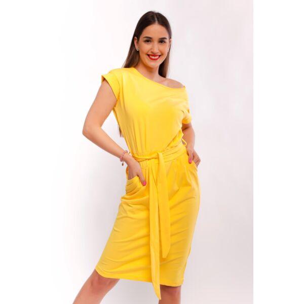 Zsebes sárga midi ruha