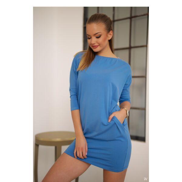 Oldal zsebes kék laza mini ruha