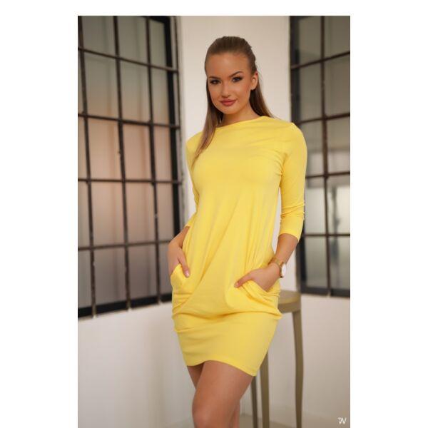 Oldal zsebes sárga mini ruha