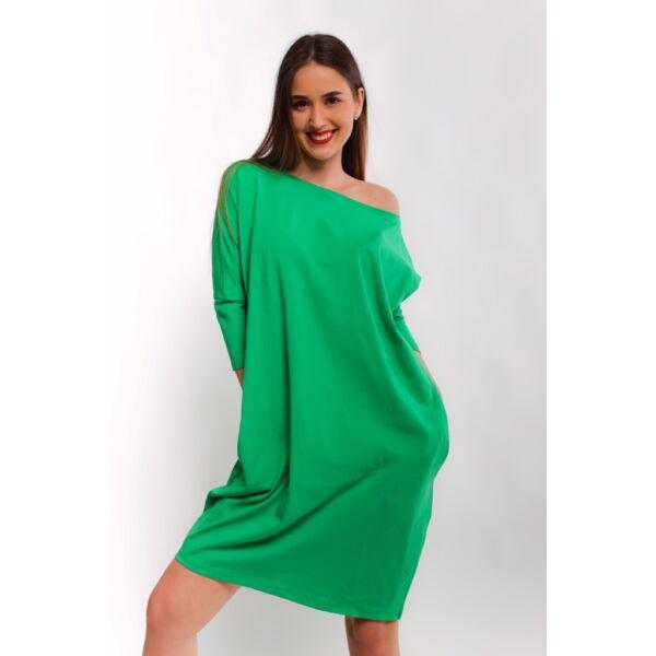 Zöld oldalzsebes bő fazonú ruha