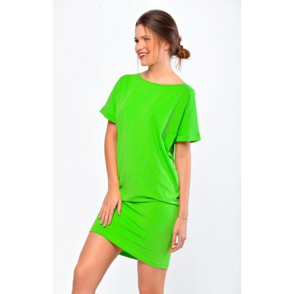 Csónaknyakú bő fazonú neon zöld ruha