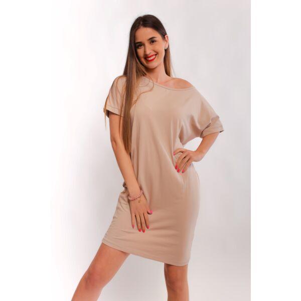Drapp színű oldalzsebes bő fazonú ruha