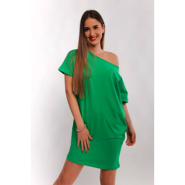 Csónaknyakú bő fazonú zöld ruha