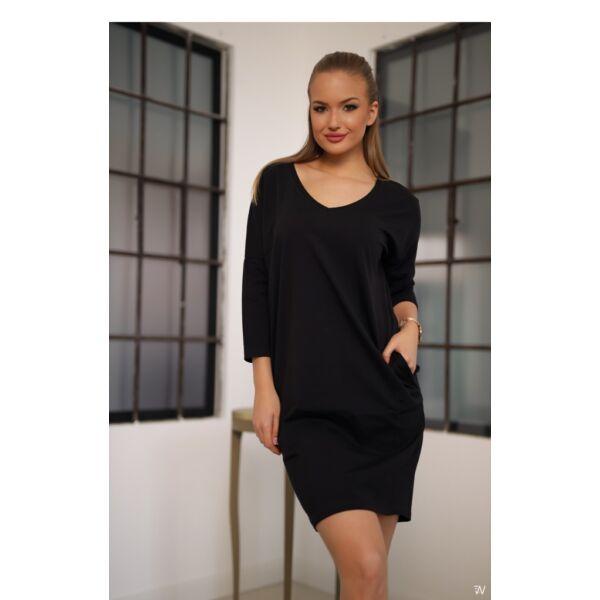 Oldal zsebes fekete laza mini ruha