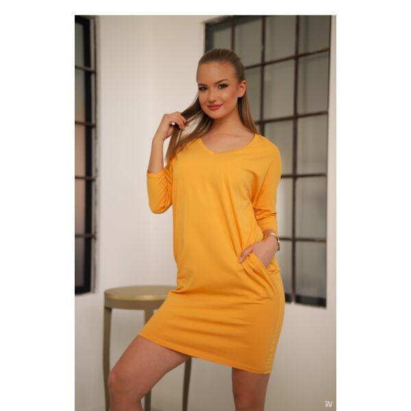 Oldal zsebes mustár sárga laza mini ruha