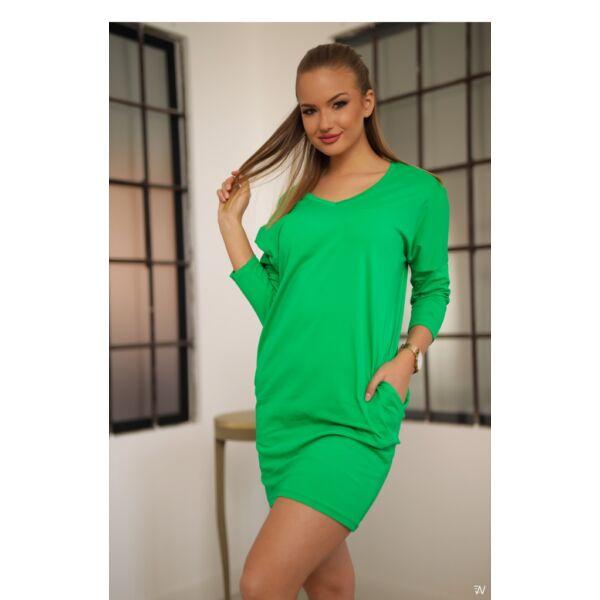 Oldal zsebes zöld laza mini ruha