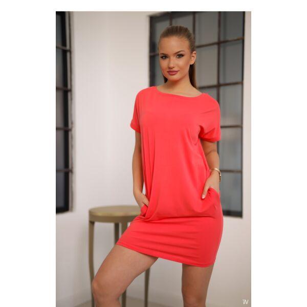 Bő fazonú korall színű ruha