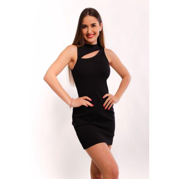 Fekete bordás anyagú ruha