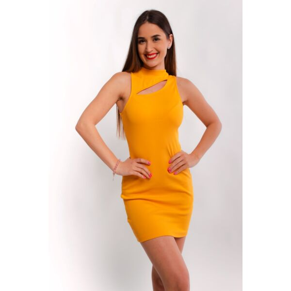 Mustár sárga bordás anyagú ruha