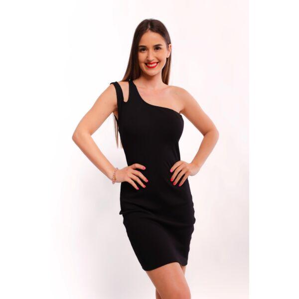 Fekete bordás anyagú félvállas ruha