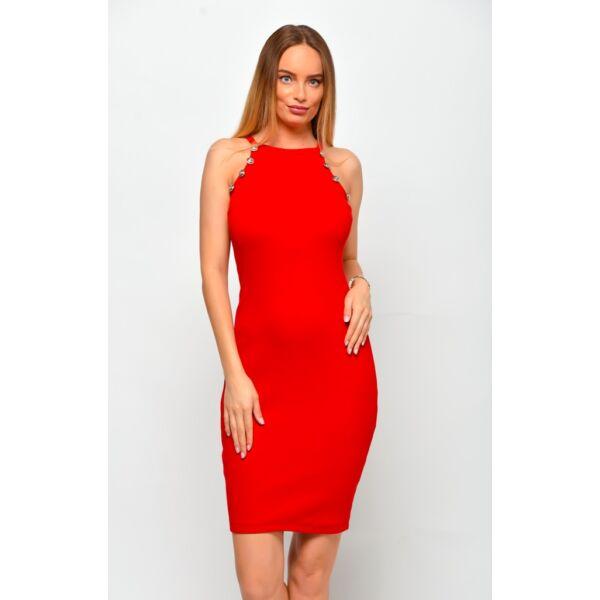 Bordás anyagú piros ruha dísz gombokkal