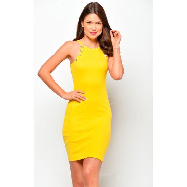 Bordás anyagú sárga  ruha dísz gombokkal