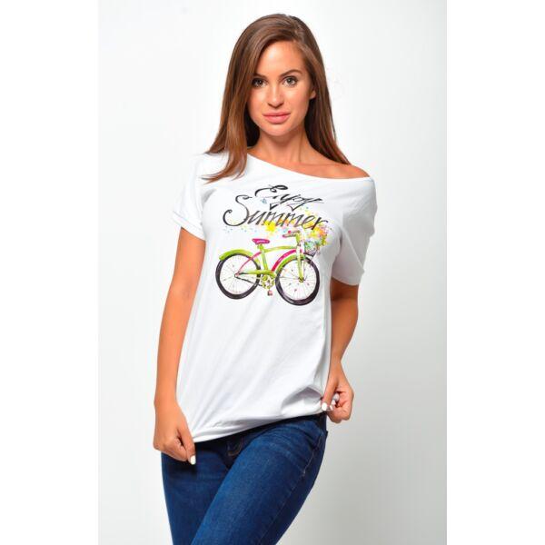 Bő fazonú fehér biciklis felső