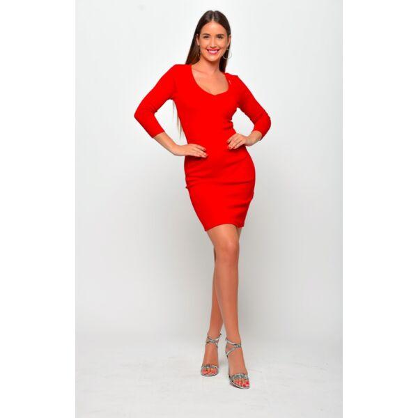 Kerek nyakú piros mini ruha