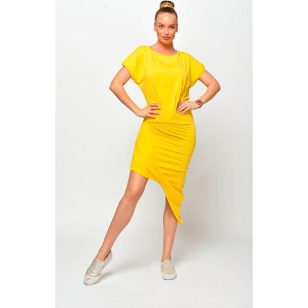 Csavart aljú sárga mini ruha