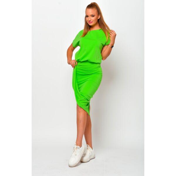 Csavart aljú zöld mini ruha