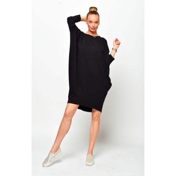 Laza hátul megkötős fekete midi ruha