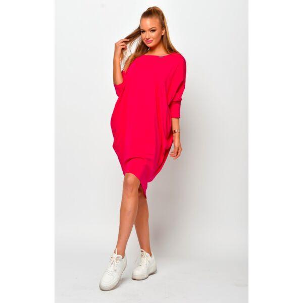 Laza hátul megkötős pink midi ruha