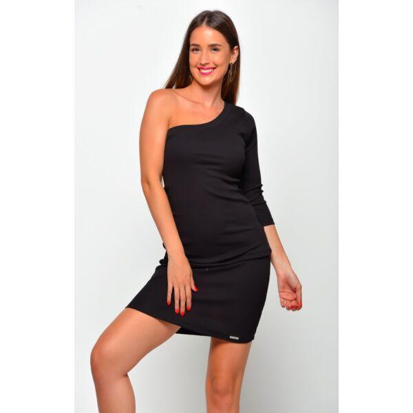 Félvállas fekete mini ruha