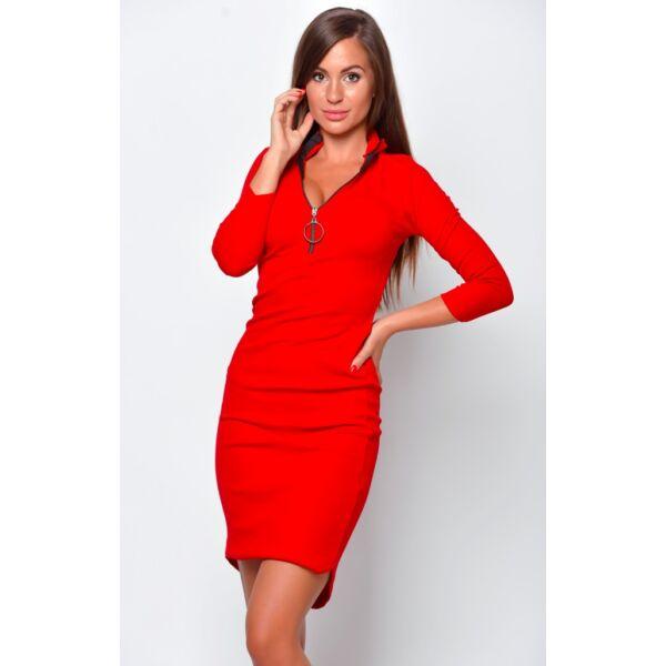 Dekoltázsnál cipzáras piros ruha
