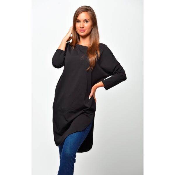 Kerekített aljú fekete ruha/tunika