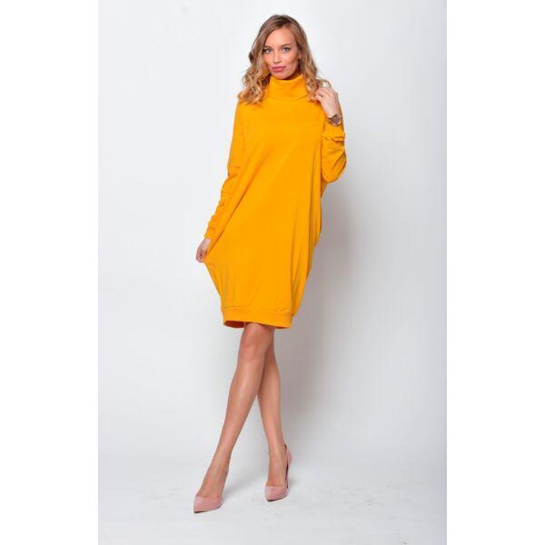 Magas nyakú bő fazonú mustár sárga ruha