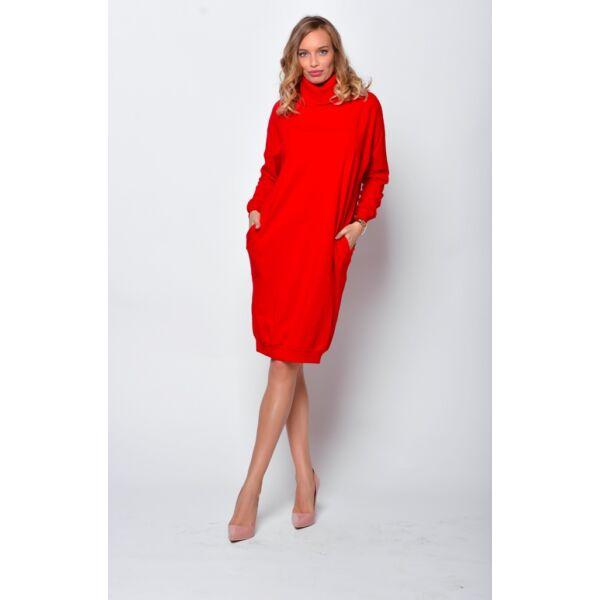 Magas nyakú bő fazonú piros ruha