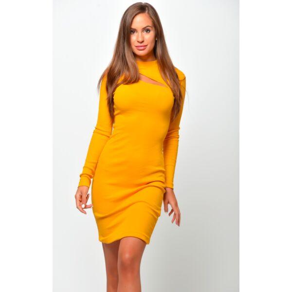 Dekoltázsnál kivágott mustár sárga mini ruha