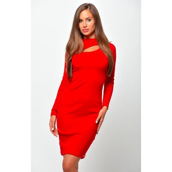 Dekoltázsnál kivágott piros mini ruha