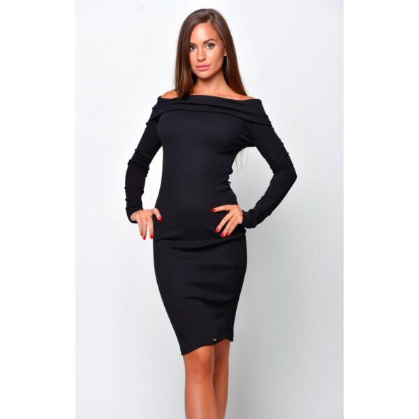 Vállra lehúzható fekete ruha