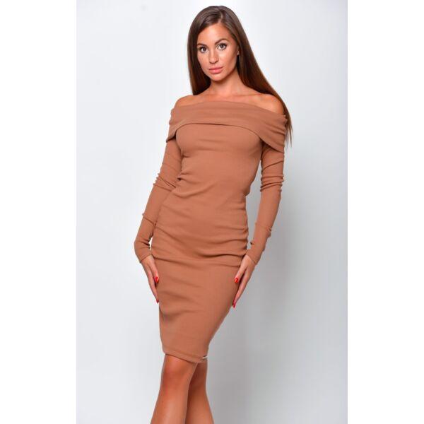 Vállra lehúzható barna ruha