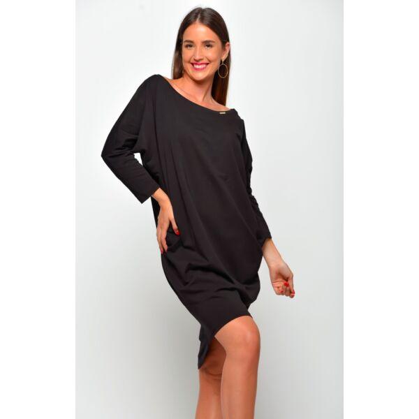 Bő szabású lezser fekete ruha