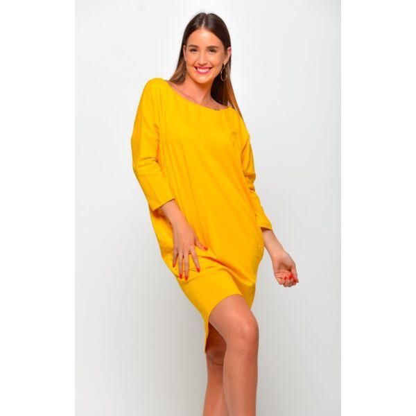 Bő szabású lezser mustár sárga ruha