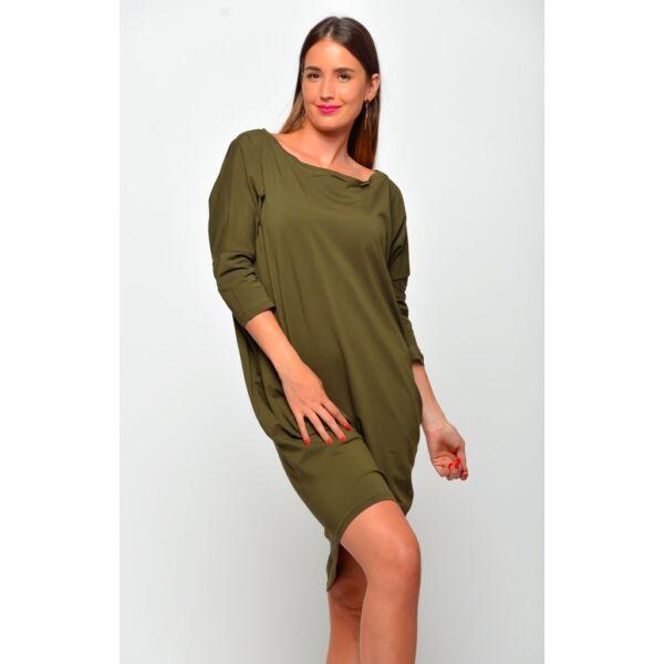 Bő szabású lezser khaki zöld ruha