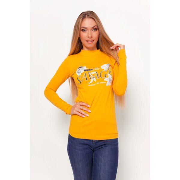 Félgarbós nyakú mustár sárga felső
