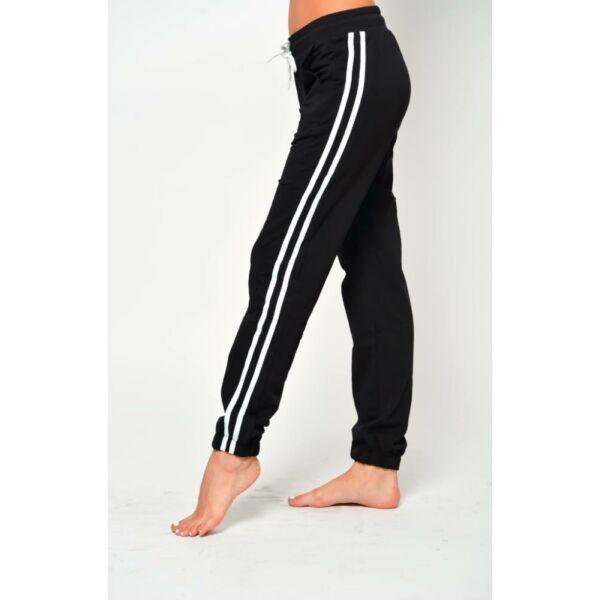 Oldalt csíkos fekete szabadidő nadrág