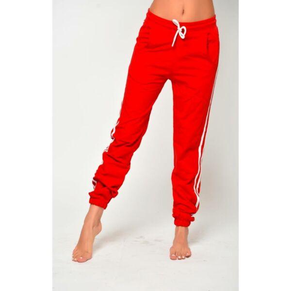 Oldalt csíkos piros szabadidő nadrág