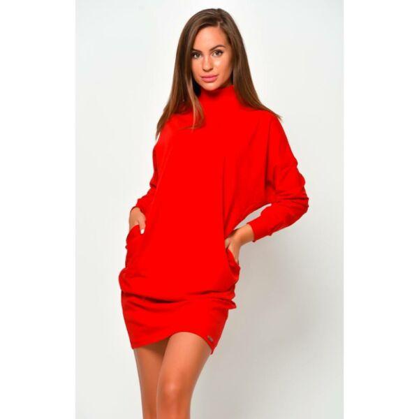 Félgarbós piros ruha