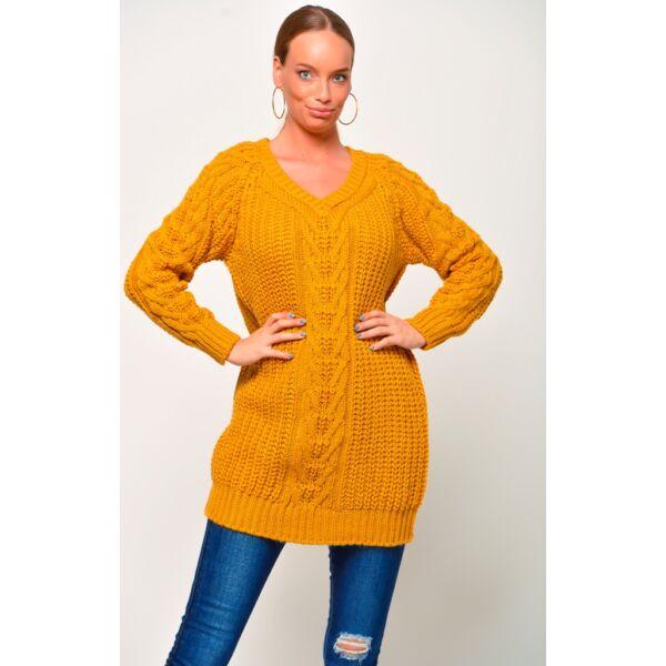 V-nyakú mustársárga pulóver