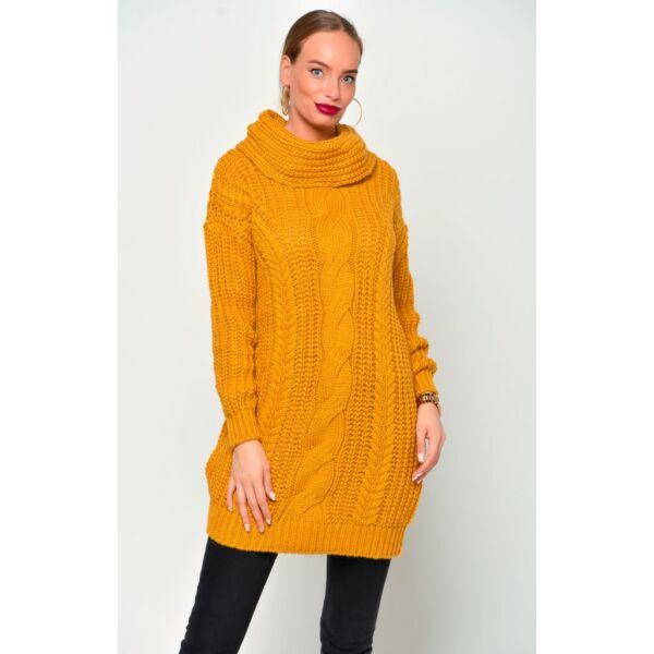 Kámzsás nyakú mustársárga pulóver