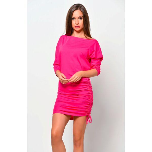 Oldalt húzott pink mini ruha