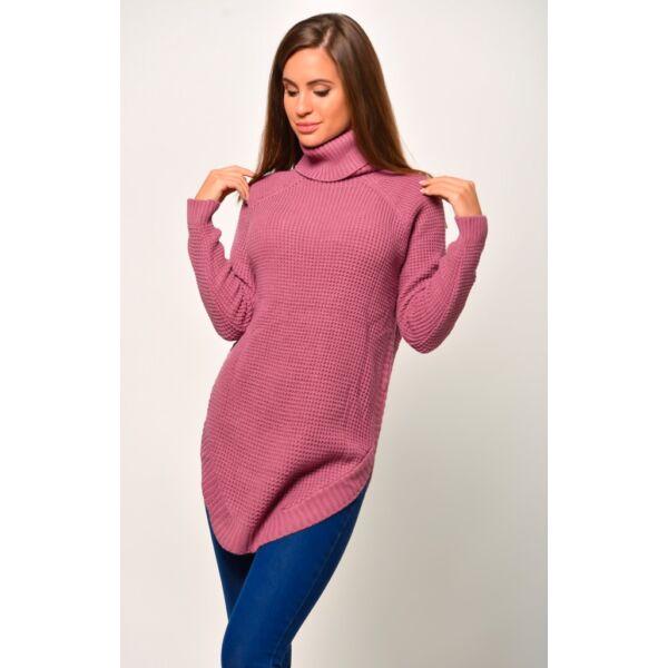 Kerekített aljú garbós mályva színű pulóver